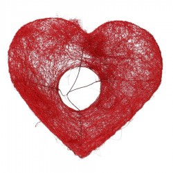 Estructura sisal corazón rojo x10