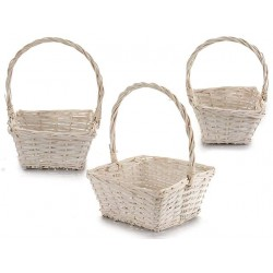 Juego 3 cestas cuadradas blancas