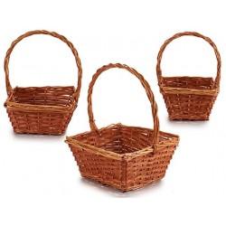 Juego 3 cestas cuadradas marrón