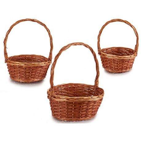 Juego 3 cestas redondas marrón
